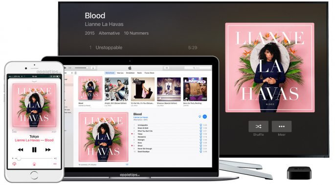 muziek applicatie in iOS 10, tvOS 10 en macOS Sierra
