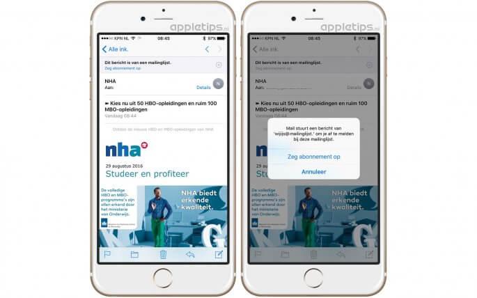 Nieuwsbrieven opzeggen en afmelden in iOS 10 Mail