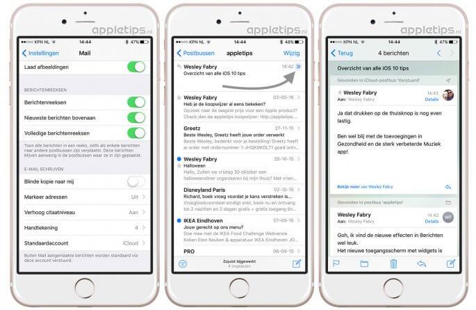 Berichtenreeks iOS 10 rangschikken