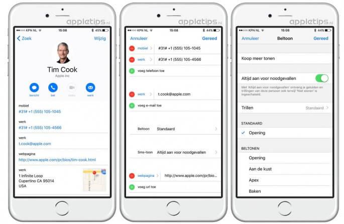 alle geluiden van contactpersonen toestaan in iOS 10