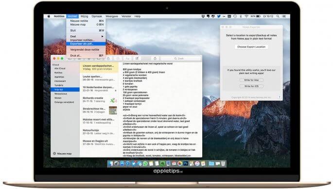 notities exporteren als pdf en tekst