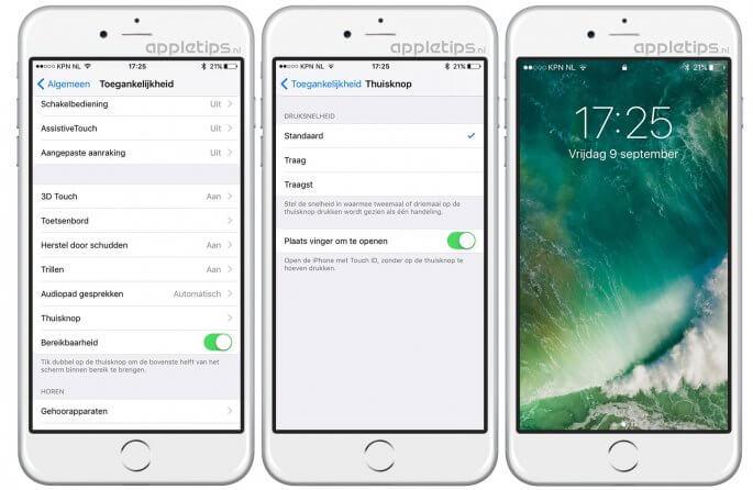 iOS 10 ontgrendelen met Touch ID