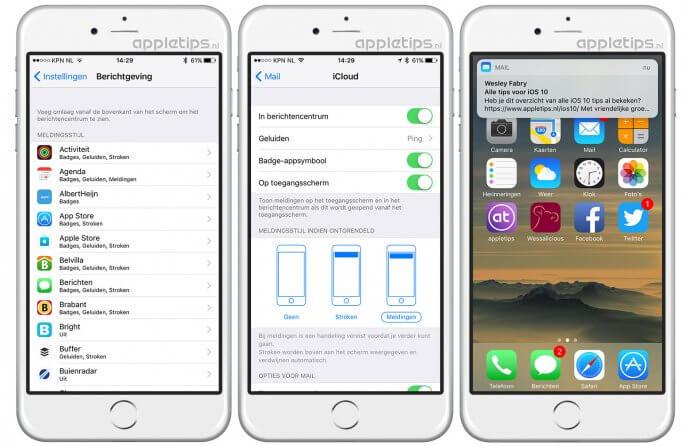 permanente meldingen gebruiken in iOS 10