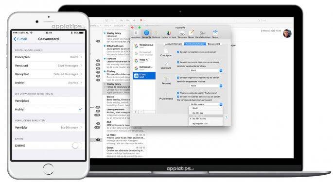 prullenmand mail automatisch legen in iOS en macOS