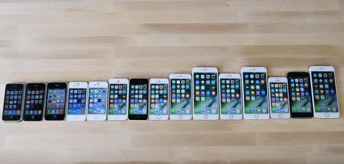 snelheidstest van alle iPhones tot nu toe