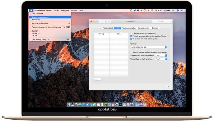 sneltoets om punt typen in macOS Sierra