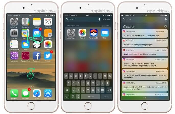 Spotlight openen in iOS 10 op verschillende manieren