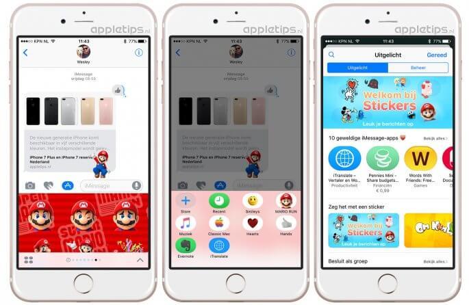 iMessage apps en stickers installeren