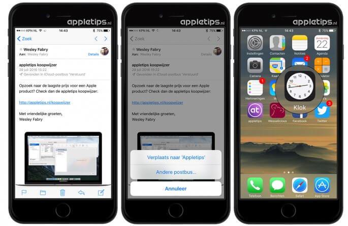 iOS 10 wijzigingen in Klok en Mail