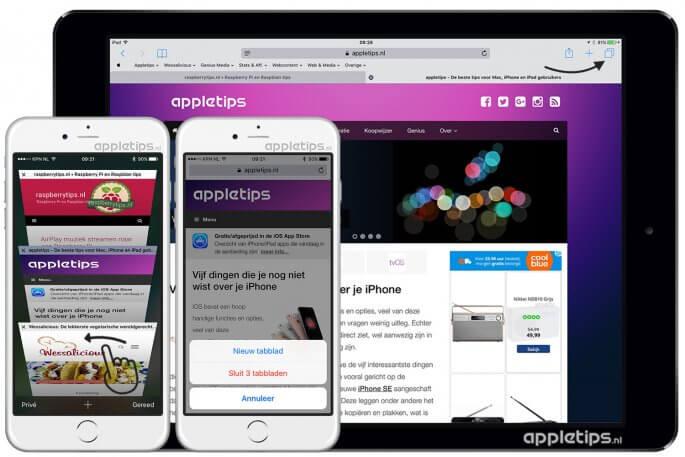 tabbladen afsluiten in iOS Safari
