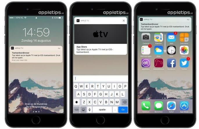 Tekst invoeren op de Apple TV met tvOS 10 en iOS 10