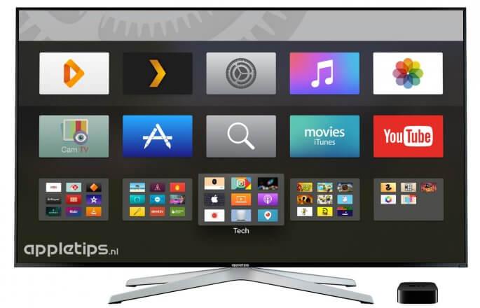 donkere modus in actie op een apple tv 4