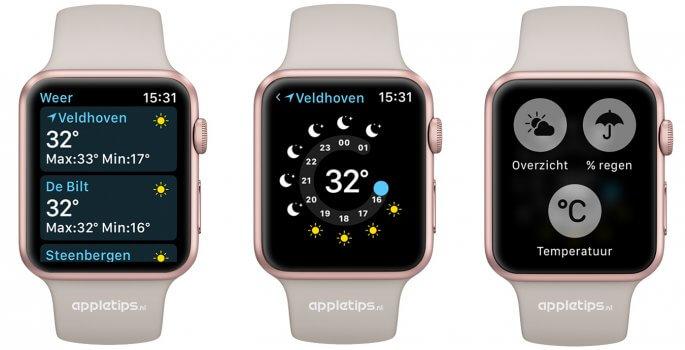 De vernieuwde watchOS 3 weer applicatie