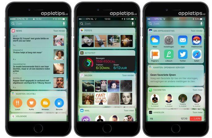 Alle Nieuwe iOS 10 standaard widgets