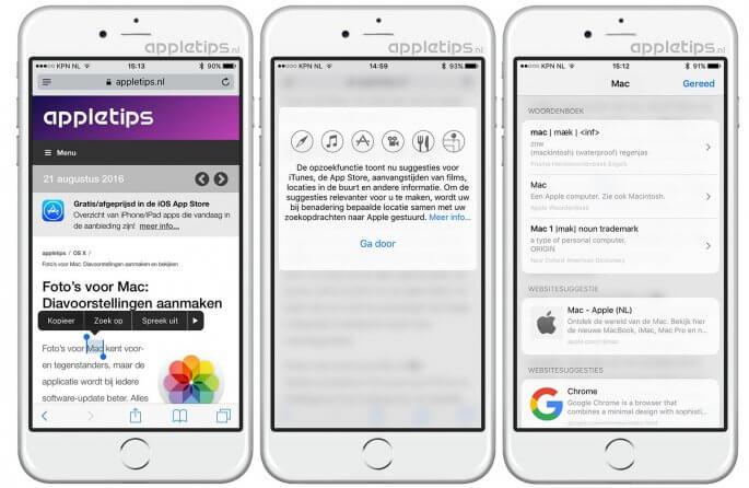 zoek op gebruiken in iOS 10 voor betekenis en meer