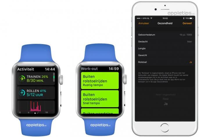 Apple Watch instellen voor rolstoelgebruikers vanaf watchOS 3