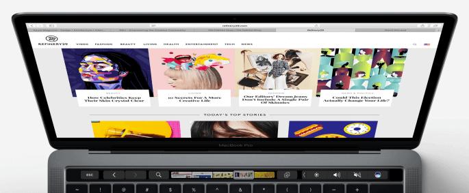 touch bar op een macbook pro
