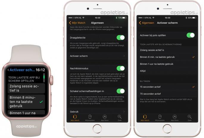 Apple Watch scherm activeren en instellen