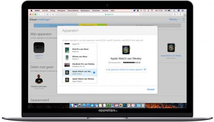 Apple Watch verwijderen uit iCloud en Apple ID