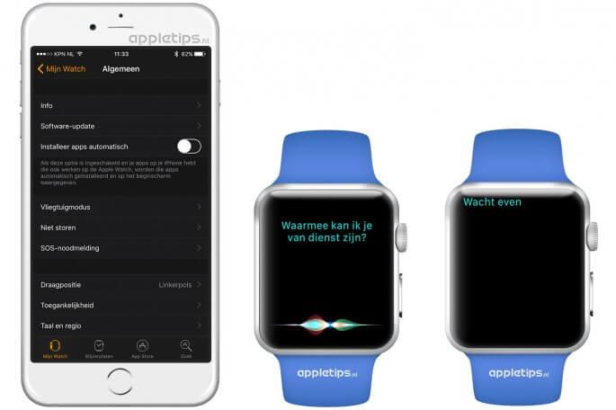 kleine wijzigingen in watchOS 3 zoals Siri en apps installeren