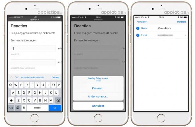 automatisch invullen van formulieren in iOS 10