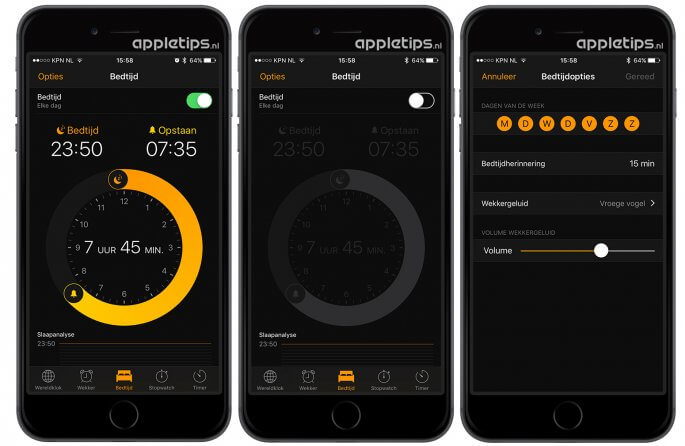 bedtijd en waakmelder volledig uitschakelen in iOS 10