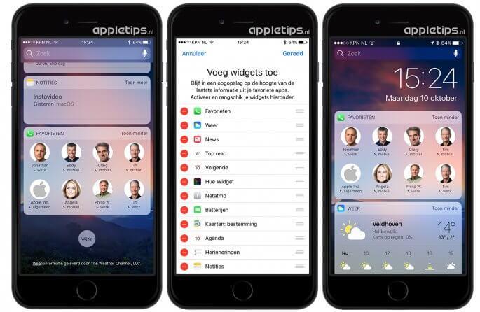 Bellen via widgets in het toegangsscherm