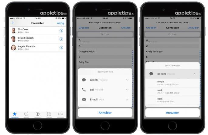 Favorieten uitbreiden met berichten of e-mail in iOS