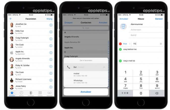 Favorieten instellen en bellen in iOS 10