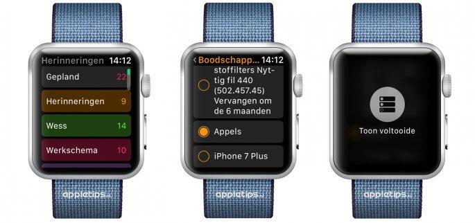 Herinneringen bekijken op een Apple Watch met watchOS 3 of nieuwer