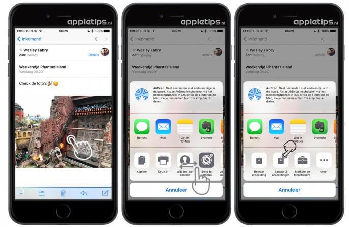 Foto's via mail bewaren in iOS 10