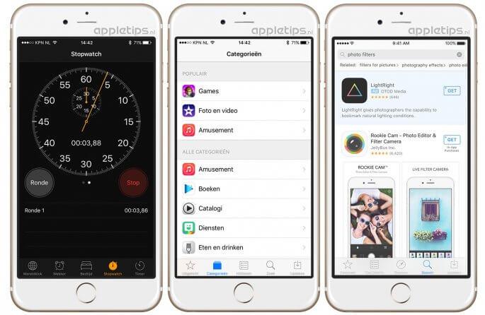 kleine wijzigingen ios 10 app store en stopwatch