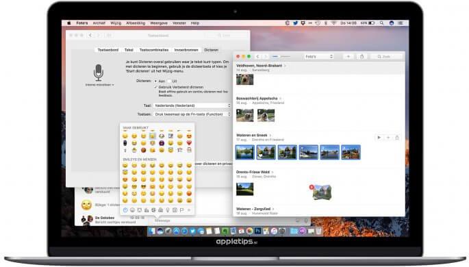 Kleine wijzigingen in macOS zoals dicteren en emoji's