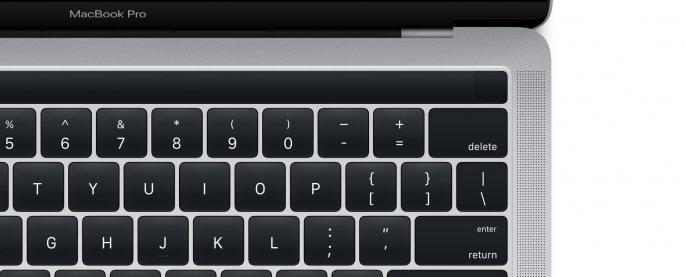 MacBook Pro met magic toolbar (oled-balk)