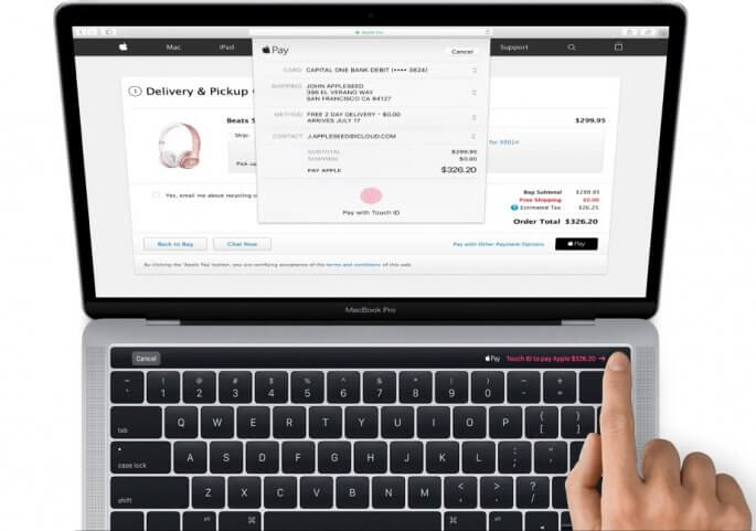 Apple Pay op nieuwe MacBook Pro met OLED-balk