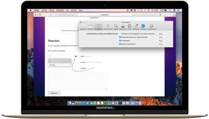 macOS Sierra tekstvelden in safari uitschakelen