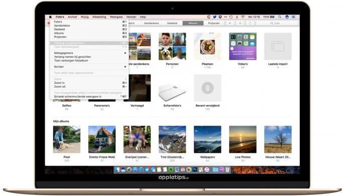 foto's navigatiekolom in foto's voor macOS Sierra uitschakelen