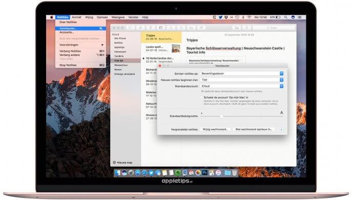 Voorkeuren voor notities wijzigen in macOS