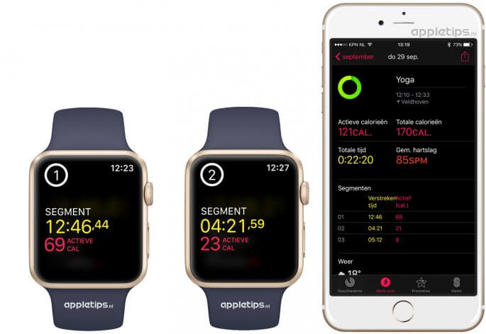 Segment (meerdere rondes) toevoegen aan een work-out in Apple Watch