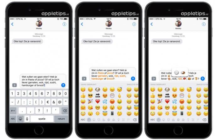 tekst vervangen door emoji's in ios 10 berichten