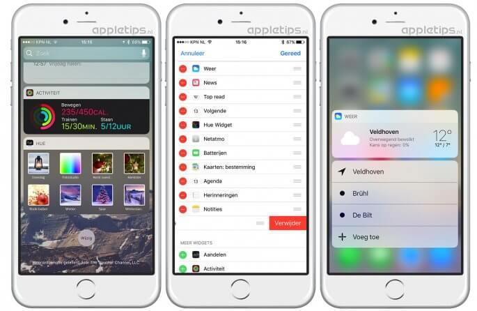 widgets toevoegen in iOS 10