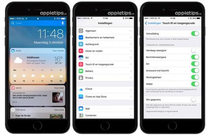 widgets niet tonen op het iOS toegangsscherm