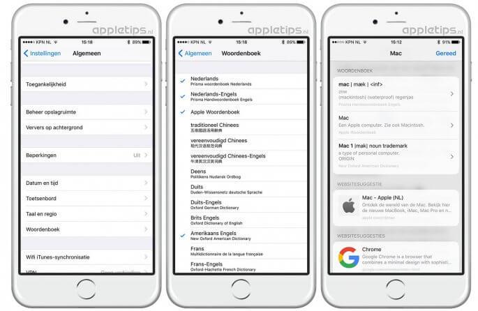 Woordenboeken beheren in iOS 10