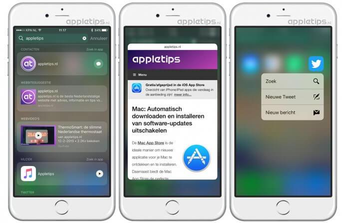 3D touch gebruiken in Spotlight iOS 10