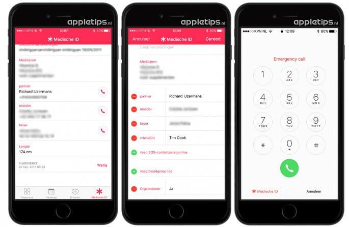 SOS-contactpersonen toevoegen aan iOS Medisch ID