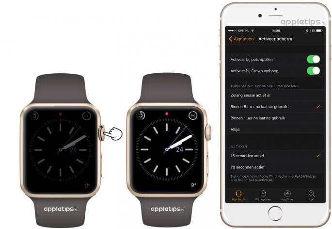 Het Apple Watch scherm activeren en subtiel dimmen