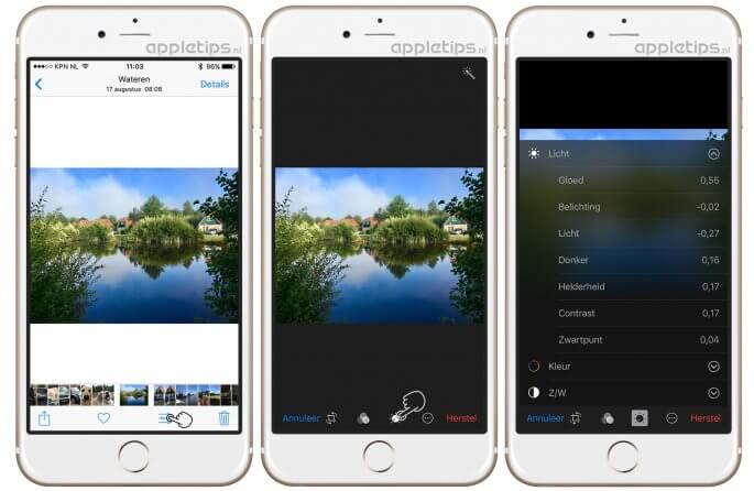 Gloed foto's aanpassen vanaf iOS 10