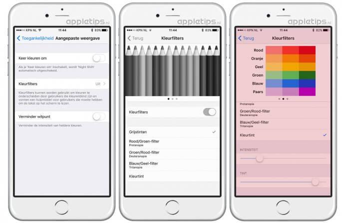 grijstinten activeren in iOS 10