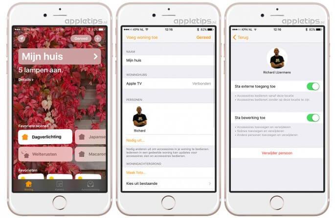 huis delen via woning in iOS