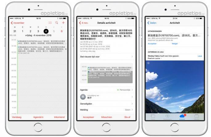 iCloud Spam in Agenda en fotodelen